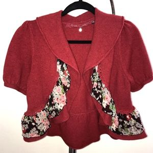 Anthropologie red cardigan sweater with ruffle